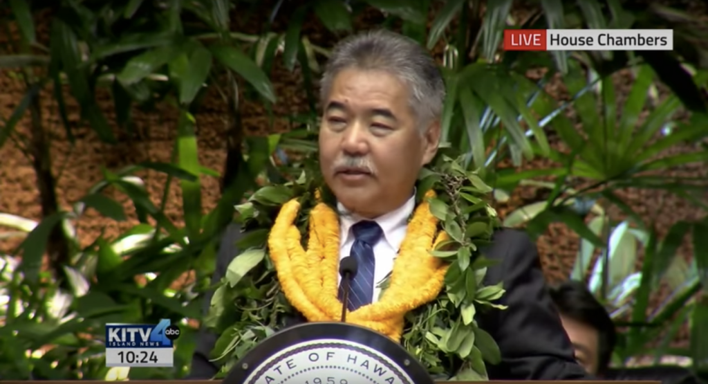 Above: Hawaii's Governor David Ige gives his State of the State address in 2016.Image Credit: Screenshot